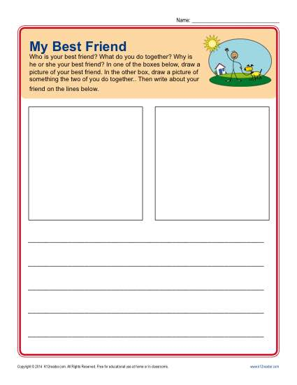 Writing Prompt for Kindergarten - My Best Friend