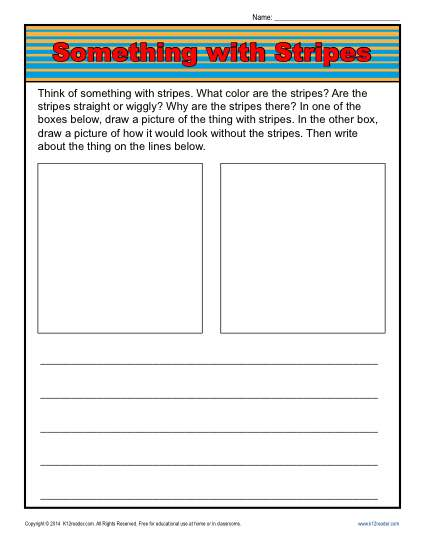 Kindergarten Writing Prompt - Something with Stripes