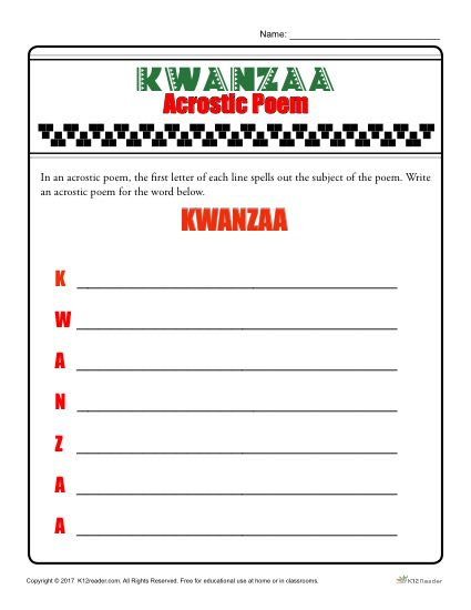 Kwanzaa Acrostic Poem Activity
