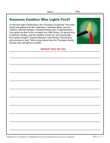 Kwanzaa Candles Writing Prompt Who Lights First