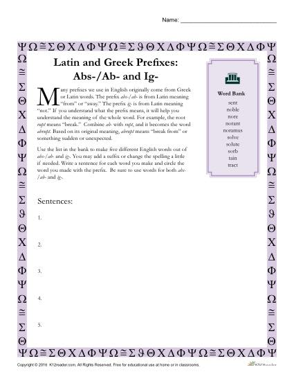 Greek and Latin Prefix Worksheet - Abs Ad and Ig