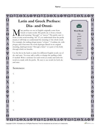 Greek and Latin Prefix Worksheet - Dia and Omni