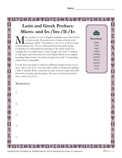 Greek and Latin Prefix Worksheet - Micro and In / Im / Il / Ir