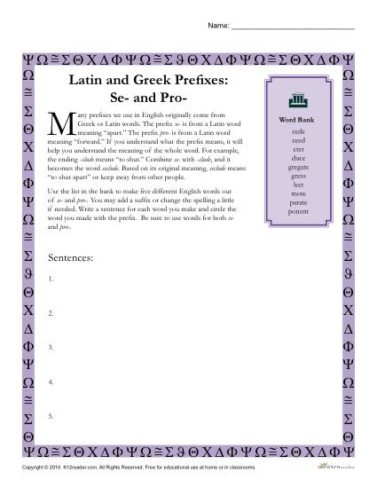 Greek &amp- Latin Prefixes and Suffixes From Common Core Based ...