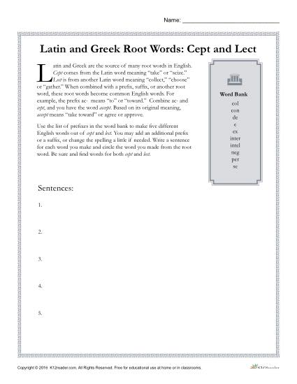 Latin and Greek Root Words Worksheet - Cept and Lect