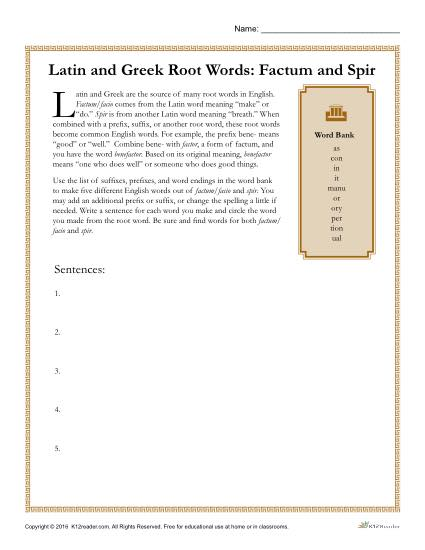 greek and latin root words worksheets factum and spir. Black Bedroom Furniture Sets. Home Design Ideas