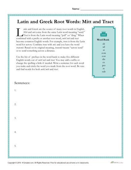 Latin and Greek Root Words Worksheet - Mitt and Tract