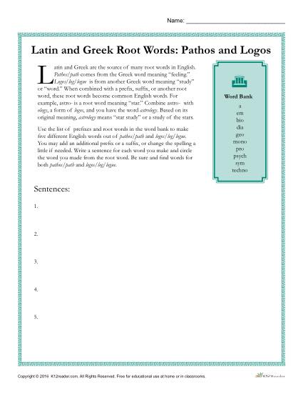 Latin and Greek Root Words Worksheet - Pathos and Logos