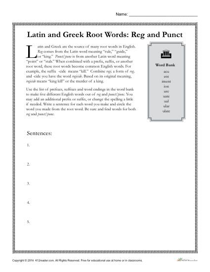 Greek and Latin Root Words: Reg and Punct