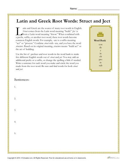 Latin and Greek Root Words Worksheet - Struct and Ject