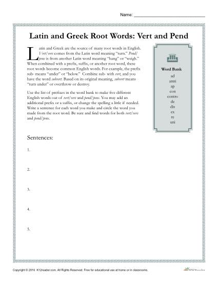 Latin and Greek Root Words Worksheet - Vert and Pend