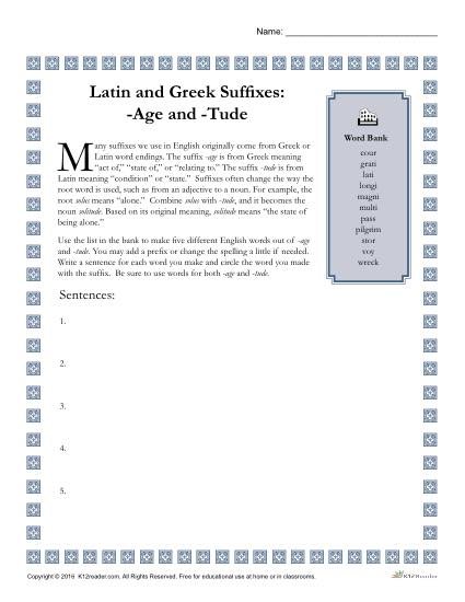 Greek and Latin Suffix Worksheet - AGE and TUDE