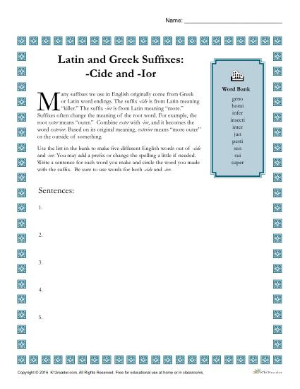 Greek and Latin Suffix Worksheet - CIDE and IOR