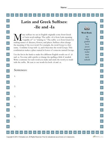 Greek and Latin Suffix Worksheet - ILE and IA