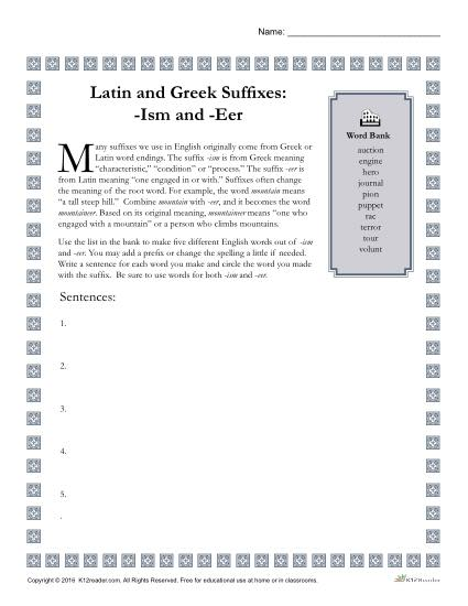 Greek and Latin Suffix Worksheet - ISM and EER