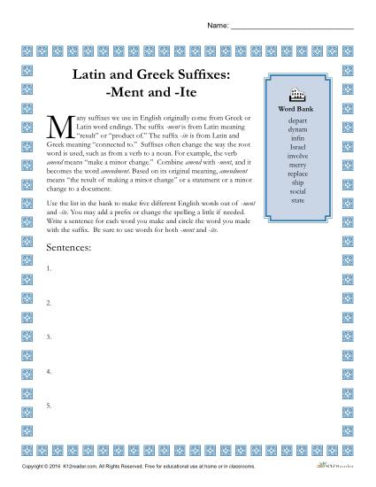 Greek and Latin Suffix Worksheets - MENT and ITE