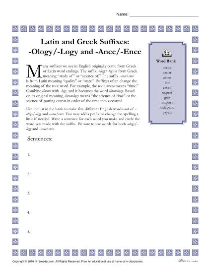 Greek and Latin Suffix Worksheet - OLOGY / LOGY and ANCE / ENCE