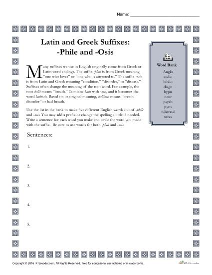 Greek and Latin Suffix Worksheets - PHILE and OSIS