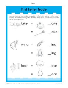 First Letter Trade - Printable Vowel Practice Activity for Kids