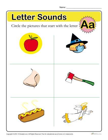 Letter Sounds: A   Preschool Letter Worksheet