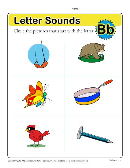 Letter Sounds: B | Preschool Letter Worksheet