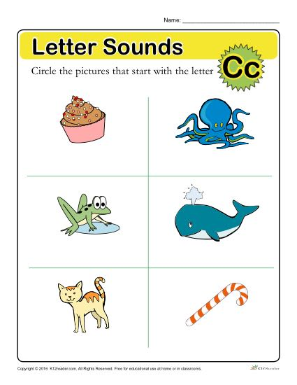 Letter Sounds: C | Preschool Letter Worksheet