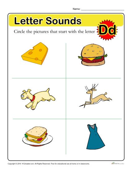Letter Sounds: D | Preschool Letter Worksheet