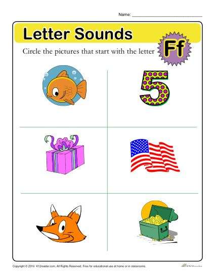 Letter Sounds: F | Preschool Letter Worksheet