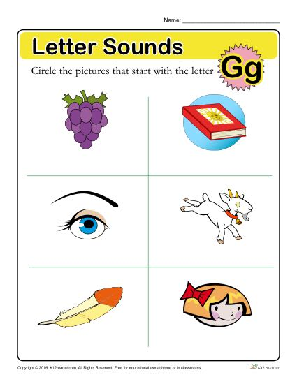 Letter Sounds: G Preschool Letter Worksheet