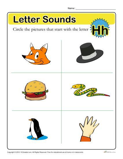 Letter Sounds: H | Preschool Letter Worksheet