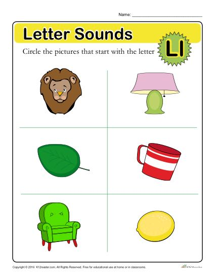Letter Sounds: L | Preschool Letter Worksheet