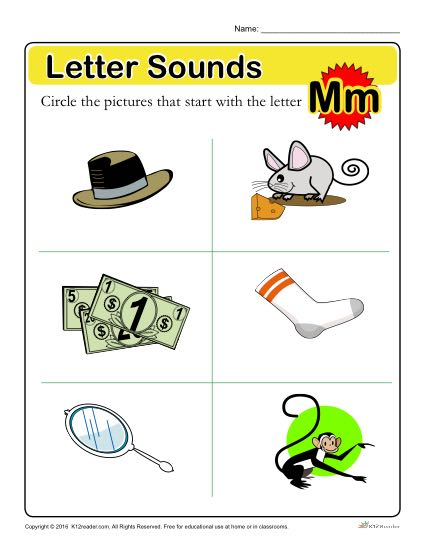 Letter Sounds: M | Preschool Letter Worksheet