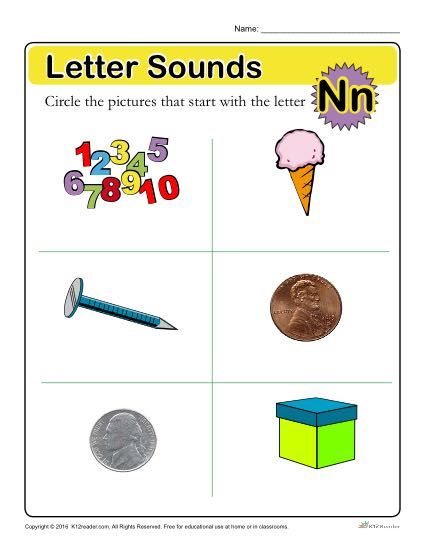 Letter Sounds: N | Preschool Letter Worksheet