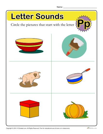 Letter Sounds: P | Preschool Letter Worksheet