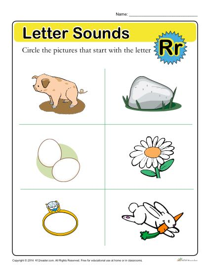 Letter Sounds: R | Preschool Letter Worksheet