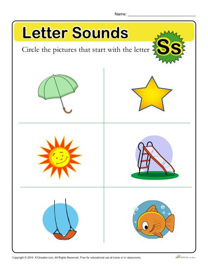 Letter Sounds: S | Preschool Letter Worksheet