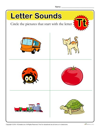 Letter Sounds: T | Preschool Letter Worksheet