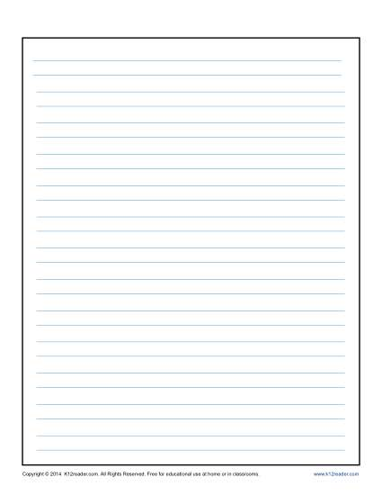 Lined Writing Paper Template for Kids