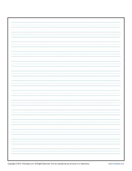 Lined Writing Paper With Center Guide