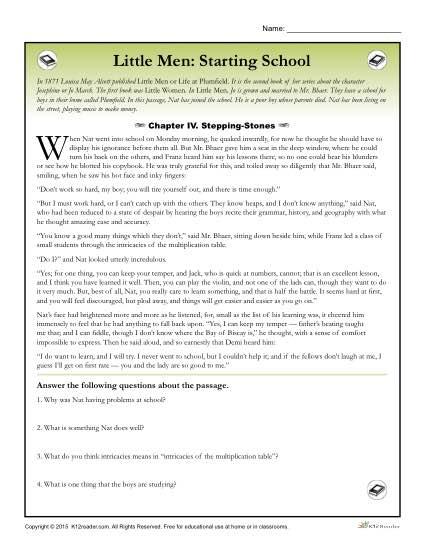 Little Men Classic Literature Worksheet Activities: Starting School