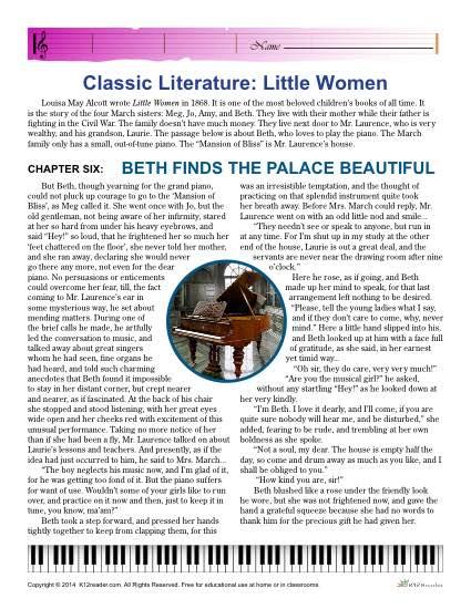 Free, Printable Reading Comprehension Activity Set - Little Women