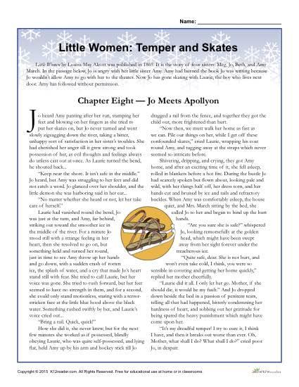 Little Women Classic Literature Worksheet Activities: Temper and Skates