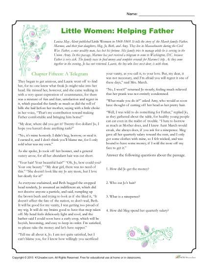Little Women Reading Worksheet Activities: Helping Father