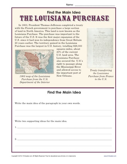 Worksheets Louisiana Purchase Activity : Th grade main idea worksheet about the louisiana purchase