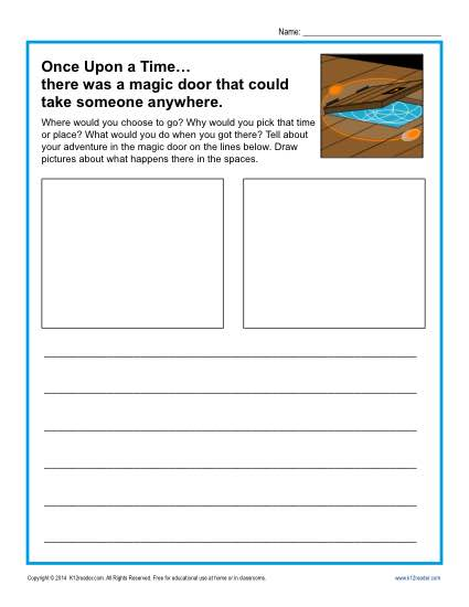 Free printable Kindergarten writing prompt - There Was a Magic Door