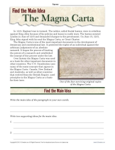 High School Main Idea Worksheet About The Magna Carta