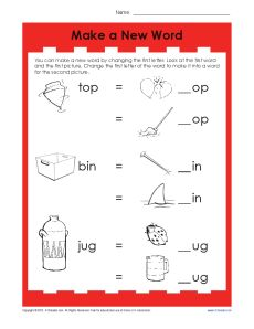 Make a New Word - Vowel Worksheet Activity for Kids