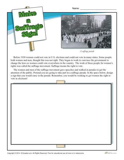 Free, Printable Suffrage Sign Activity
