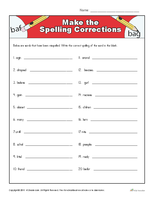 Printable Spelling Worksheet - Make the Spelling Corrections