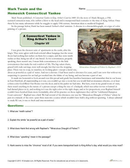 Reading Comprehension Worksheet Activity - Mark Twain and the Homesick Connecticut Yankee